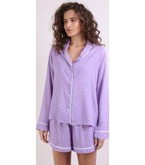 camisa de pijama feminina estampada de poá com vivo contrastante manga longa lilás