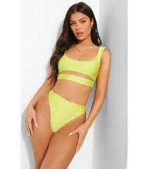 tropicana korte bikini top met uitsnijding, lime