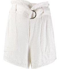 iro sequin belted shorts - white