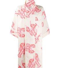 henrik vibskov lobster print oversized shirt dress - white