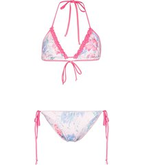 loveshackfancy harbour floral-print bikini set - pink