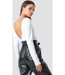 na-kd basic deep back long sleeve top - white