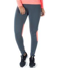calça legging oxer recorte mesh - feminina - cinza esc/rosa