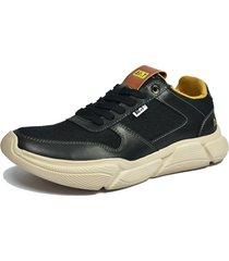 zapato casual negro ac&t ref 48 cuero malla