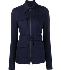 victoria victoria beckham belted fitted jacket - blue