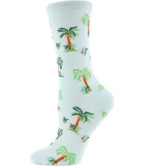 memoi island palm trees women's novelty socks