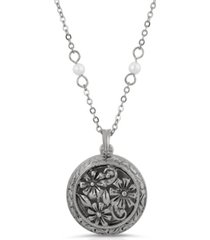 2028 silver-tone round floral locket with imitation pearl chain necklace
