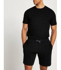 river island mens black t-shirt and shorts set