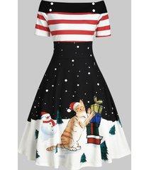 christmas snowman polka dot off shoulder midi dress