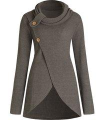 plus size button detail front slit sweater
