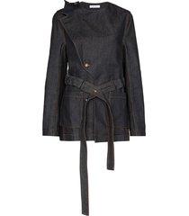 delada asymmetric belted denim jacket - blue