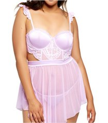 icollection plus size floral applique 2pc lingerie set