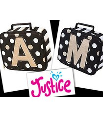 nwt justice black white gold polka dot stripe initial a m lunch box tote new!