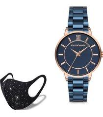 reloj rose blue  fashion mask con cristales poloexchange