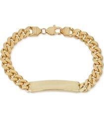 cuban chain id bracelet in 18k gold-plated sterling silver