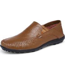 uomo casual scarpe mocassini bassi con cucito in pelle a taglia grande