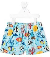 mc2 saint barth coral bay print swim shorts - blue