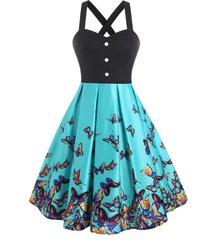 criss cross mock button butterfly print dress
