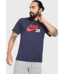camiseta azul navy-rojo-blanco nike sb tee logo