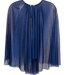 maria lucia hohan cape-style silk blouse - blue