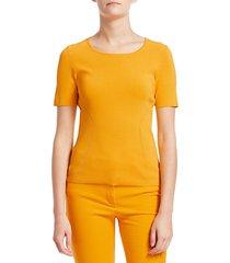 escada women's solisa wide seam short sleeve sweater - gold - size xs