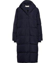 liyaiw boxy coat gevoerde lange jas blauw inwear