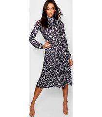 dalmatiërprint midi jurk met lange mouwen en hoge hals, zwart