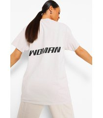 woman oversized acid wash gebleekt t-shirt met rugopdruk, crème