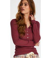 hunkemöller pyjamastopp med långa ärmar röd