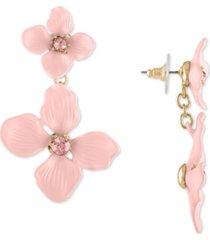 rachel rachel roy gold-tone double flower drop earrings