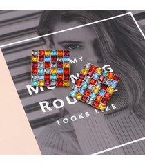 orecchini di strass quadrati alla moda orecchini di diamanti colorati a forma di orecchio per le donne