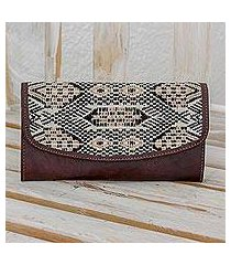 cotton and leather checkbook wallet, 'tricolor kaleidoscope' (guatemala)