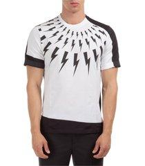 neil barrett fair isle bolt rolled up t-shirt