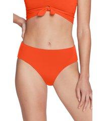 women's robin piccone ava high waist bikini bottoms, size medium - orange