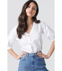 na-kd trend button short sleeve blouse - white
