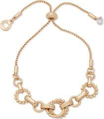 anne klein gold-tone textured link slider bracelet