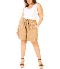 black tape plus size solid paper-bag shorts