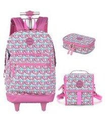 kit mochila infantil com rodinhas lancheira e estojo preguiça up4you