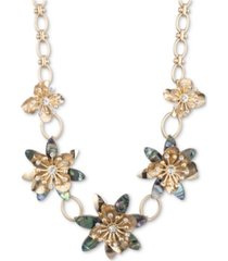 "lonna & lilly gold-tone blue-green crystal floral frontal necklace, 16"" + 3"" extender"