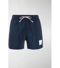 thom browne logo swim shorts