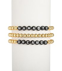 eye candy la women's the luxe namaste & dreamer 18k goldplated alphabet bead bracelet