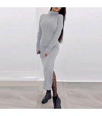 zanzea de punto de las mujeres de cuello de tortuga manga larga de split delgado medio corto vestidos de gris -gris