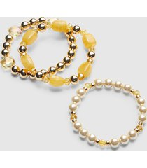 lane bryant women's 3-row resin & pearlescent stretch bracelet set onesz golden spice