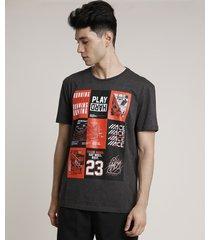 """camiseta masculina esportiva ace """"play hard"""" manga curta gola careca cinza mescla escuro"""