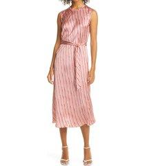 women's rebecca taylor stripe belted silk satin midi dress, size 8 - pink