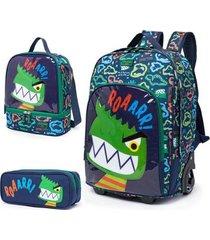 kit escolar infantil mochila de rodinhas + lancheira + estojo spector dinossauro