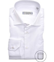 modern fit ledub overhemd wit met borstzak