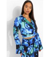 bloemenprint wikkel blouse, black