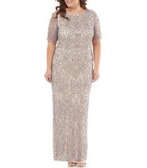 plus size women's js collection beaded column gown