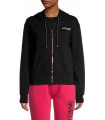 roberto cavalli sport women's fleece zip-front hoodie - black - size l